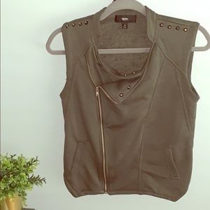 Mossimo Green Zippered Vest w/ Silver Grommets